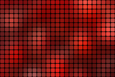 square abstract: Abstract red mosaic background with square tiles over black, horizontal format.