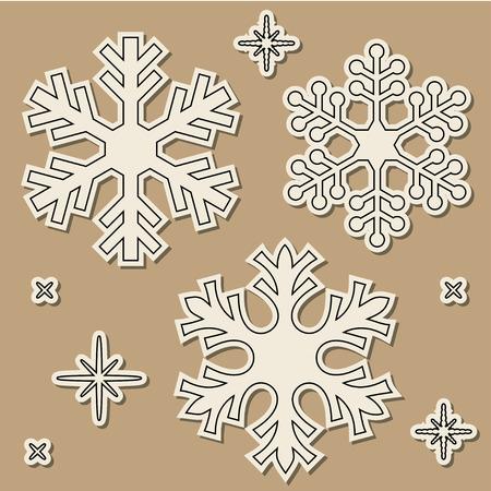 fiambres: los copos de nieve del corte del papel con la sombra cayó sobre el fondo marrón. Vectores