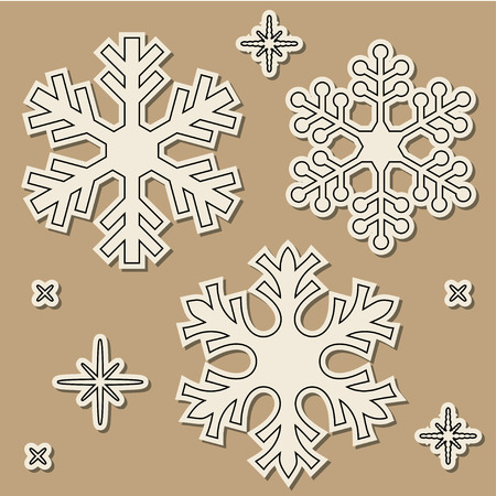 cold cuts: Paper cut snowflakes with dropped shadow over brown background. Illustration