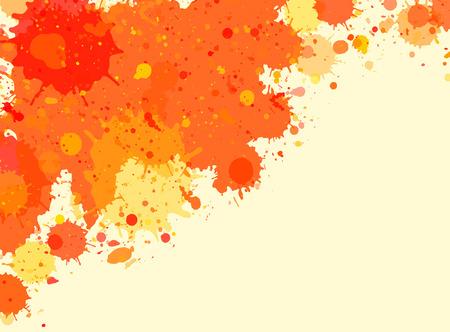 Vibrant bright orange watercolor paint artistic splashes frame, horizontal format.