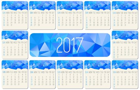schedulers: Year 2017 vector monthly calendar. Week starting from Sunday. Contemporary low poly design in blue color.