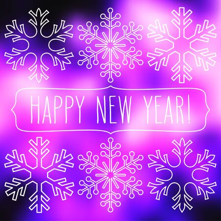 White snowflakes over purple square abstract smooth blur background with hand written new year greetings in a frame.