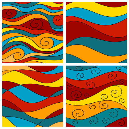 Set of ornate hand drawn brightly colored sea waves background.