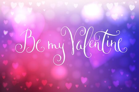 Abstract smooth blur pink and blue background with heart-shaped lights over it and hand written Valentines day greetings.