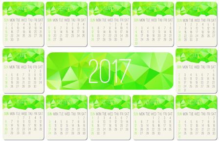 Year 2017 vector monthly calendar. Week starting from Sunday. Contemporary low poly design in vibrant green color.