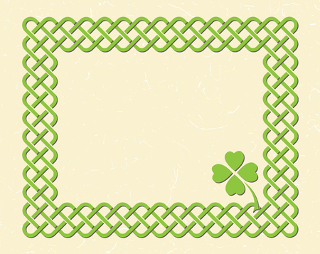 Traditional green celtic style braided knot frame and shamrock leaf over textured vintage background.