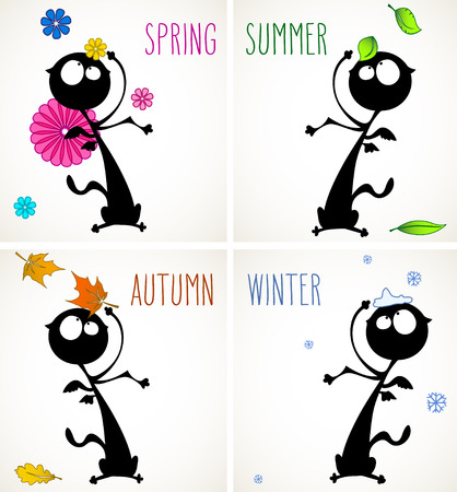 Set of four cards with funny black cat in different seasons, room for your text.
