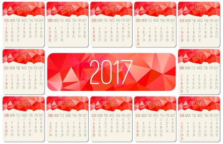 scheduler: Year 2017 vector monthly calendar. Week starting from Sunday. Contemporary low poly design in red color.