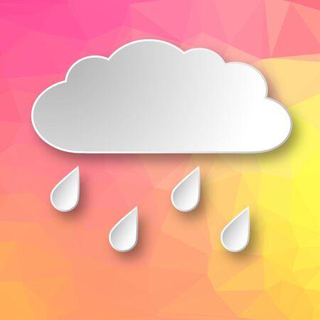 Papel 3d que llueve la nube sobre fondo geométrico abstracto rosado y amarillo.