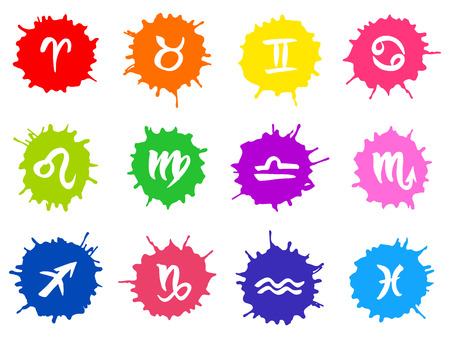 zodiacal symbol: Collection of hand drawn zodiac signs in multicolor paint blots. Vector graphics astrology set.