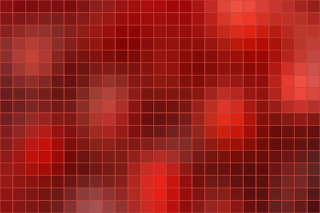 horizontal format: Abstract square mosaic tile red background, horizontal format. Illustration