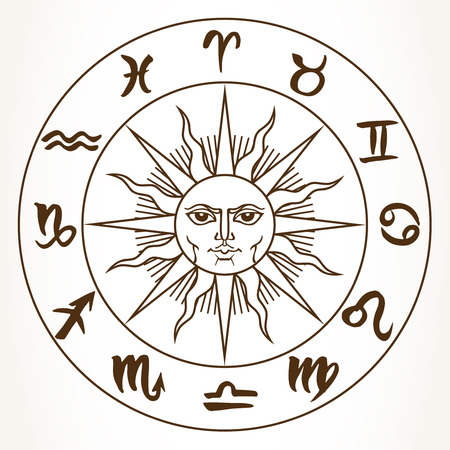 Collection of hand drawn zodiac signs in a circle around the sun. Vector graphics astrology vintage illustration in brown over white.