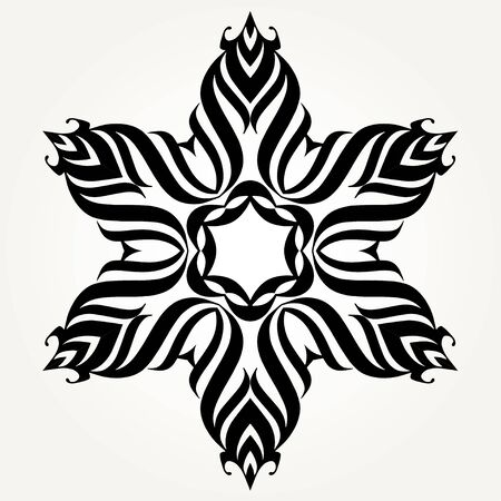 on white: Ornate doodle round rosette in black over white backgrounds. Mandala formed with hand drawn calligraphic elements.
