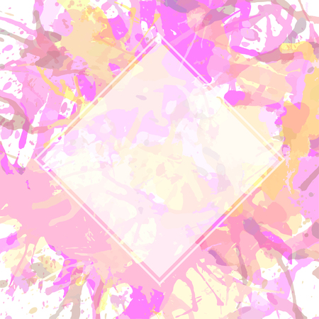 pastel colored: Template with semi-transparent white square over pink pastel colored artistic paint splashes, ready for your text. Illustration