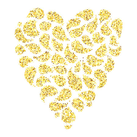 glitter heart: Gold glitter heart isolated over white background. Happy Valentines Day glamour design element. Illustration