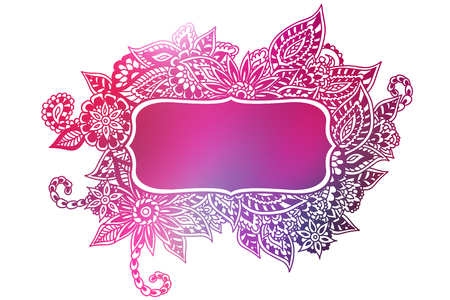 Pink ornate floral doodle frame isolated on white.