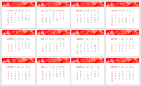 Year 2017 vector monthly calendar. Week starting from Sunday. Contemporary low poly design in red color.