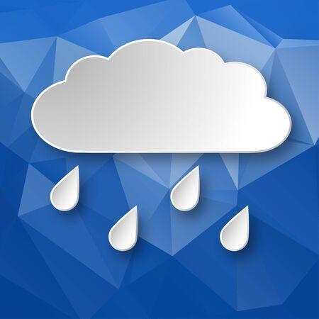 Papel nube lluviosa sobre el fondo geométrico abstracto azul 3d.