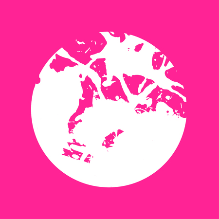 White artistic paint splashes in a circle over hot pink background.