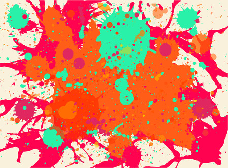 Vibrant bright orange, red and green paint artistic multicolor splashes background, horizontal format.