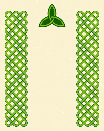 celtic background: Traditional green celtic style braided knot borders and a triquetra over textured vintage background, room for your text.