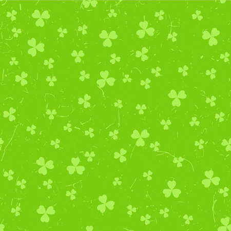 Green St. Patricks day pattern with clover leaves over grunge background.