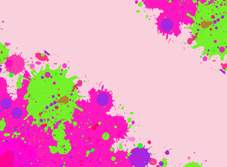 Vibrant bright pink and green watercolor artistic splashes frame with room for text. Illustration