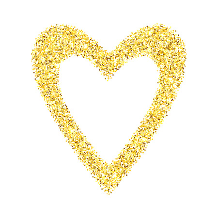 Gold glitter heart isolated over white background. Happy Valentines Day golden glamour design element. Illustration