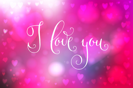 Abstract smooth blur pink background with heart-shaped lights over it and hand written I love you words. Illustration