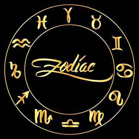Collectie van hand getrokken sterrenbeelden in een cirkel. Vectorafbeeldingen astrologie set. Borstelillustratie in gouden over zwarte. Stock Illustratie