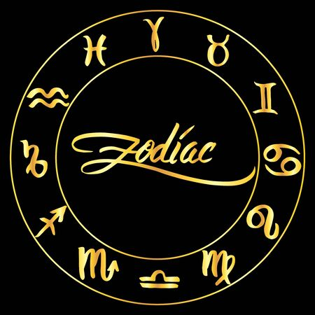 Collection of hand drawn zodiac signs in a circle. Vector graphics astrology set. Brush illustration in golden over black.