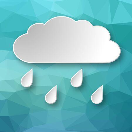 Nuvem 3d de papel que chove sobre o fundo geométrico abstrato azul.