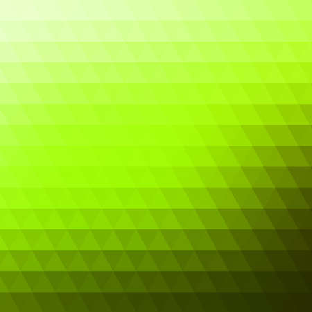 Abstract green geometric background formed with triangles in rows, square format.