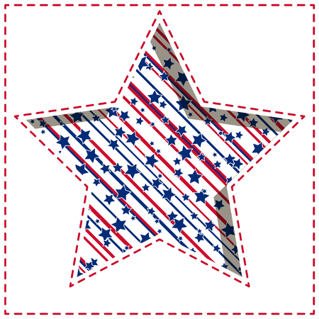 American patriotic paper cut dashed background with bright stars and stripes pattern. Illustration