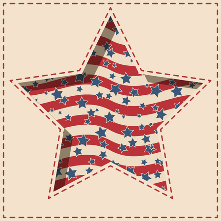 American patriotic paper star shaped  background with stars and stripes pattern in vintage colors.
