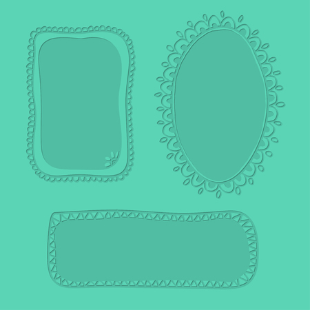 Embossed hand drawn doodle frames over pastel green background.