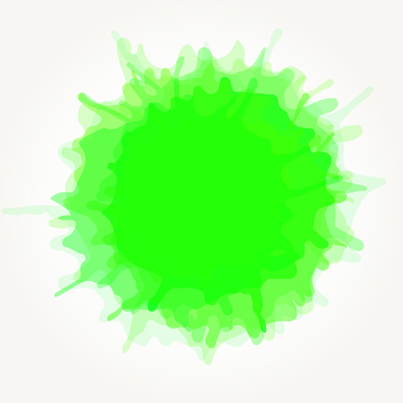Vector abstract artistic watercolor splash drop. Green paint blot isolated over white background. Illustration