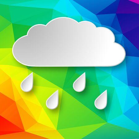 Papel 3d que llueve la nube sobre fondo abstracto geométrico del arco iris.