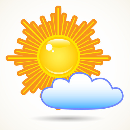 Summer bright shining sun and a cloud on the sky, isolated over white. Illustration