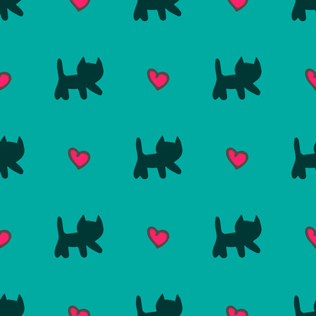 Vector hand drawn ?ute cats and hearts seamless pattern over teal background.