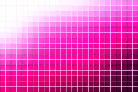 Vector abstract square mosaic tile vibrant pink and white background, horizontal format.