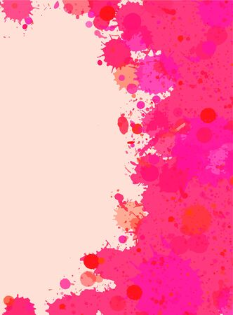 Vibrant bright pink watercolor paint artistic splashes frame, vertical format.