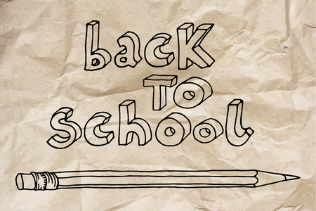Hand drawn doodle Back to School words and a pencil over brown crumpled paper. 向量圖像