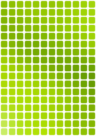 grid background: Vector abstract green mosaic background with rounded square tiles over white, vertical format.
