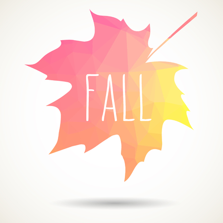 Maple leaf in triangular style with hand drawn word Fall.