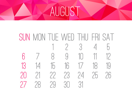 scheduler: August 2017 vector calendar. Week starting from Sunday. Contemporary low poly design in hot pink color. Illustration
