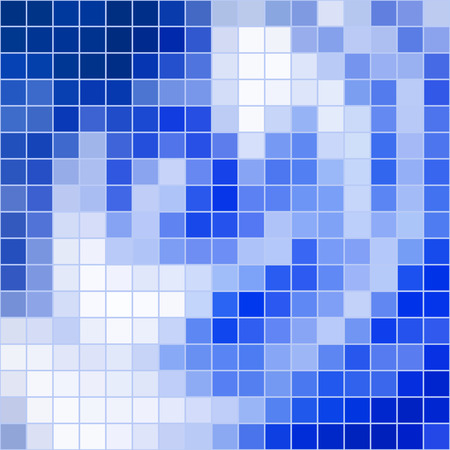 grid background: Vector abstract colored square mosaic blue tile background, square format.