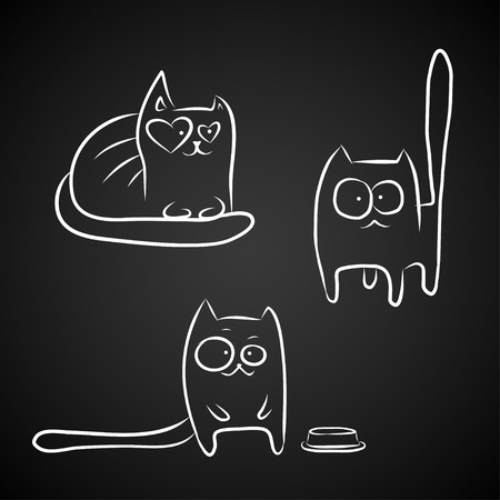 stupid: Hand drawn sketches of funny cats, white isolated over black.