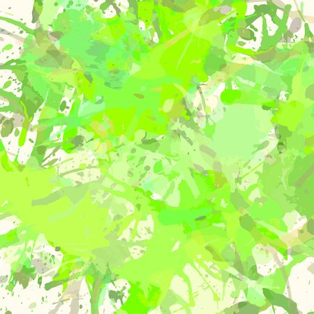 Pastel colored green artistic paint splashes, square format. Illustration