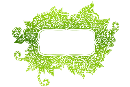 Colored ornate floral doodle frame isolated on white.